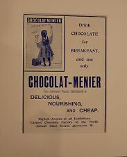 Original Vintage Advertisement mounted Chocolat-Menier 1901