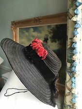 Antique hat 1880 victorian Black horse hair Large brim Excellent for baby/doll