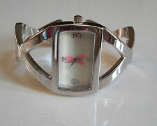 Ladies Silver Finish with Pink Breast Cancer Bangle Quartz Fashion Cuff Watch