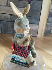 Authentic Vtg  Fur Covered Tin Wind Up Bubble Blowing Rabbit Bunny Japan WORKS
