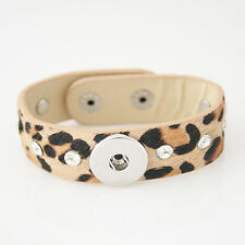Genuine Horse Hair Snap It Leather Bracelet Fit Snap It Button Charms