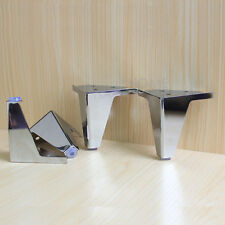 4 pcs furniture cabinet metal legs corner feet stainless steel chrome polish