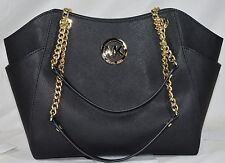 NWT MICHAEL KORS BLACK SAFFIANO LEATHER SATCHEL TOTE JETSET CHAIN PURSE