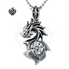 Dragon clear simulated diamond vintage style soft gothic pendant necklace