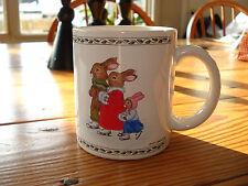 """Vintage Bunny Rabbit Family Ice Skating Christmas Mug Susan LaBelle 1986 3.5"""""""