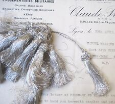 2 Lovely Vintage Antique French Silver Metallic Thread Tassel Fringe Trim 2 1/4""