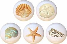 Set of 5 Seashells by WA Shell CERAMIC Drawer Pulls Dresser Drawer Cabinet Knobs