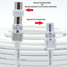 Plomo De Video Tv Ariel de plomo plomo de TV, cable coaxial de antena RF Lead RG6 7mm Blanco 2m