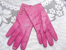 Vintage raspberry pink Liz Claiborne leather gloves & gold buttons sz M