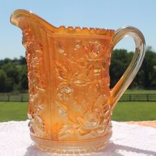 Antique Vintage Rose Lustre MARIGOLD CARNIVAL GLASS PITCHER Tall Imperial Glass