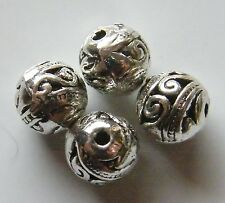 50pcs 8mm Round Metal Alloy Spacer Beads - Antique Silver #3