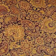 Gorgeous Metallic Gold & Dk Red Packed Paisley by Hoffman, BTY