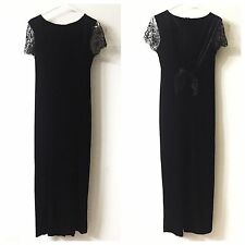 Vtg Black Velvet Women's Sz 10 Lace Long Dress Gown