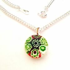 Green Glass Flower Pendant Nacklace. Silver Chain with Murano Millefiori