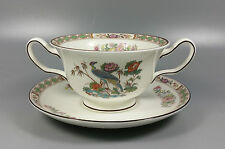 WEDGWOOD KUTANI CRANE CREAM SOUP COUPE / CUP AND SAUCER (PERFECT)