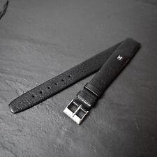 Hirsch Chevreau Kid 16mm piel de becerro reloj correa Clásico Negro 60s Vintage abierto