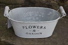Pflanzschale Metall, Länge 20 cm Übertöpfe Shabby Chic Landhaus Flowers & Garden