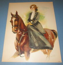 Old Vintage 1908 Antique - VICTORIAN PRINT - Sporting Girls - LADY RIDING HORSE