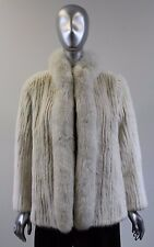 White Corded Mink Fur Jacket With Fox Tuxedo Collar Size S