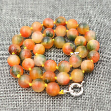 """charming India 10mm multicolor jade gemstone Round bead necklace 18 """"AAA"""