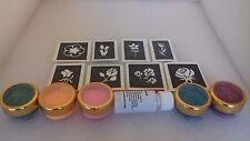 Flower themed mini glitter tattoo set incl. stencils + glitter  rose tulip daisy