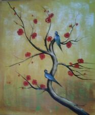Large Hand Painted Oil Painting Canvas Modern Abstract Birds In A Tree Art