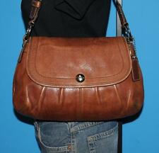 COACH Brown Leather Soho Pleated Flap Medium Shoulder Bag Purse Satchel F13729