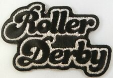 Roller Derby Text,  Iron on Patch,  Flat Track, Skates