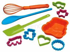 Let's Make Childrens 10pc Baking Set Whisk Spoon Spatula Cake Biscuits Bakeware