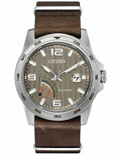 Citizen AW7039-01H Mens Eco-Drive Brown Leather Strap Beige Dial Watch