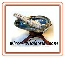 "HUGE Abalone Shell, 6"" Tripod Stand and White Sage Smudge Stick: House Cleansing"