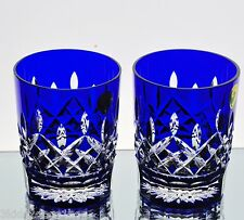 Waterford Lismore Cobalt Blue Cut to Clear Cased Crystal DOF Whiskey Glasses New