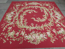 Old Square Hand Made French Design Wool Red Original Aubusson 243X240cm