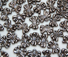 50 Bow Silver Metal Plated Loose BeadsJewelry Making Craft