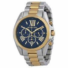 Michael Kors MK5976 Two-Tone Blue Dial Chronograph Bradshaw Watch