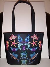 Very Cute Marine Animal Design Nylon Tote & Shopper Shoulder Bag EUC!!!
