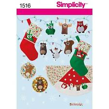 SIMPLICITY SEWING PATTERN CHRISTMAS FELT ORNAMENTS STOCKING WALL HANGINGS 1516 A