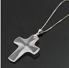 925 Sterling Silver 44mm x 30mm Clear Cross Pendant made with Swarovski Crystal