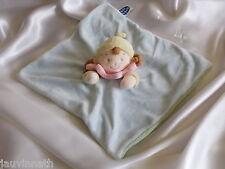Doudou poupée fille, bleu, jaune, rose, grelot, Mots d'enfants