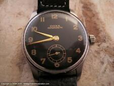 Doxa Black Military Style Dial with Black Pigskin Strap, Manual, Gents (1369)