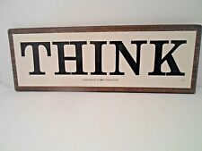 "Original Vintage "" THINK "" Sign Compliments of IBM Corporation 14"" x 5"""