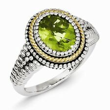 ANTIQUED STERLING SILVER & 14K GOLD ACCENT  BEZEL SET PERIDOT RING