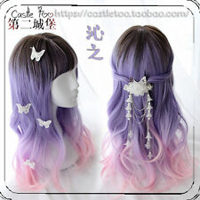 Japanese Harajuku Sweet Lolita Blue Pink Gradient Curly Cosplay Daily Fairy Wig