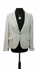ZARA Jacket Size L Jersey Blazer Grey & White Striped Evening Party