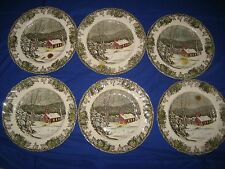 "6 x  Johnson Bros  The Friendly Village  ""The School House""   Dinner Plates 10"""