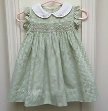 Carter's Baby Girl's Smocked Summer Dress-6M-Green With Dainty Pink Roses