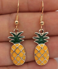 1.7'' Pineapple Fruits Oval Oil Painting Alloy Simple Golden Lady Drop Earrings