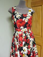 Dolce & Gabbana AUTH NWT Red Poppy Wht Daisy Print Fit & Flare Poplin Dress 44