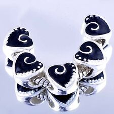 5X European Charms Heart Beads Spacer authentic Black Enamel For bracelets