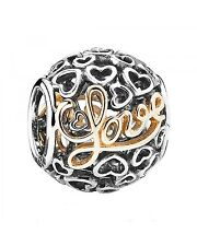 100% Authentic PANDORA 'Message of Love' two-tone charm 791425